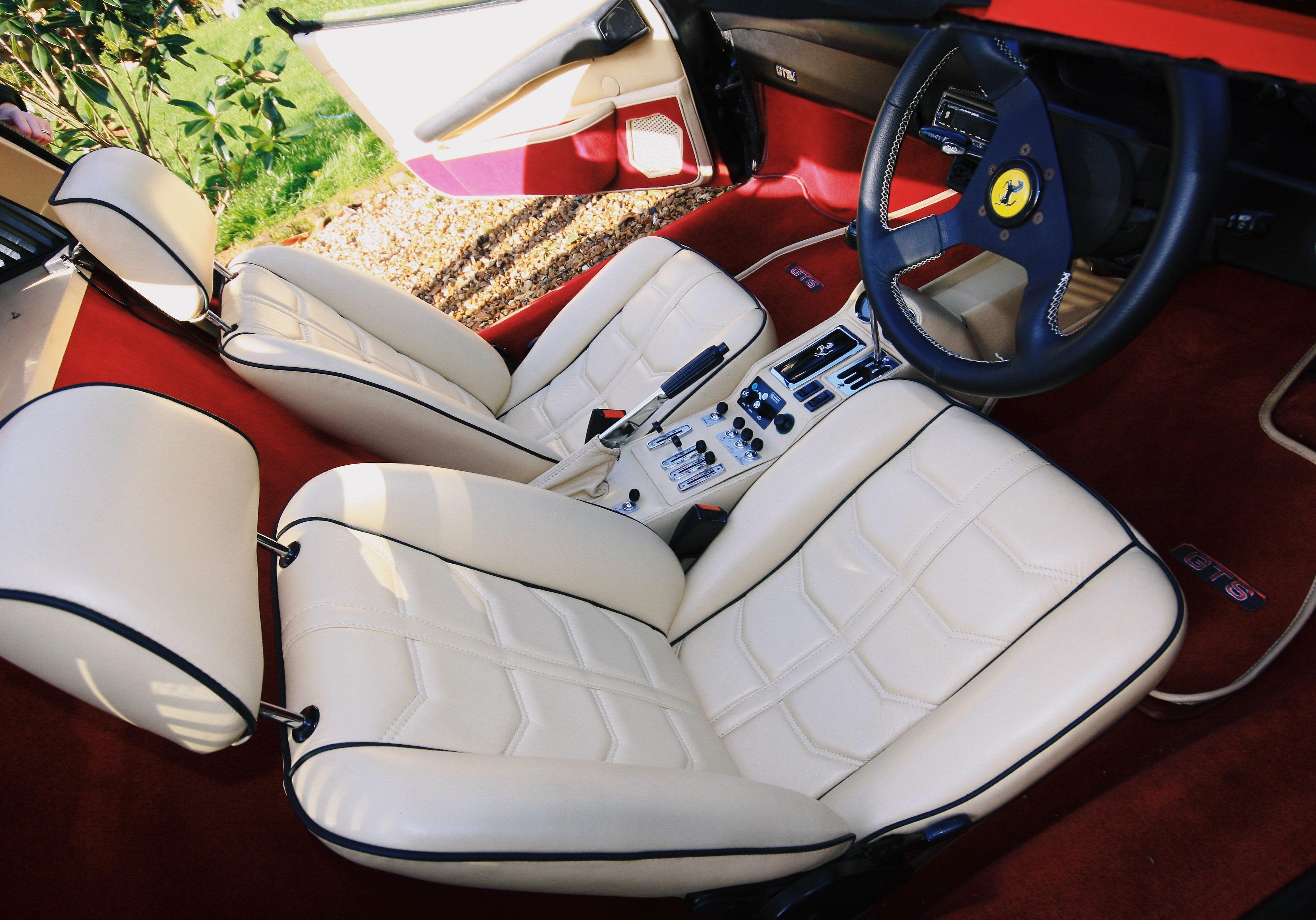 white leather in a ferrari